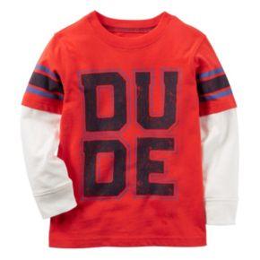 "Baby Boy Carter's Mock-Layered Long Sleeve ""DUDE"" Graphic Tee"