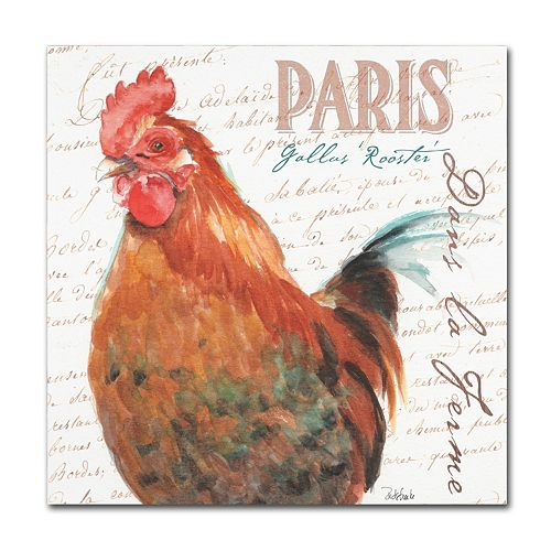 Trademark Fine Art Dans la Ferme Rooster I Canvas Wall Art