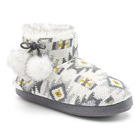 Cuddl Duds Women's Geometric Knit Bootie Slippers