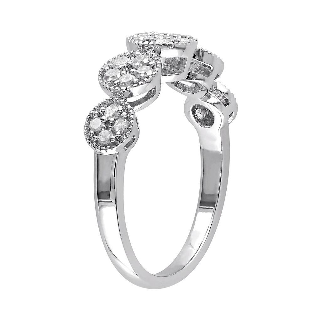 Sterling Silver 1/2 Carat T.W. Diamond Flower Ring