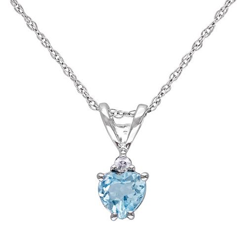 10k White Gold Sky Blue Topaz & 1/5 Carat T.W. Diamond Heart Pendant Necklace