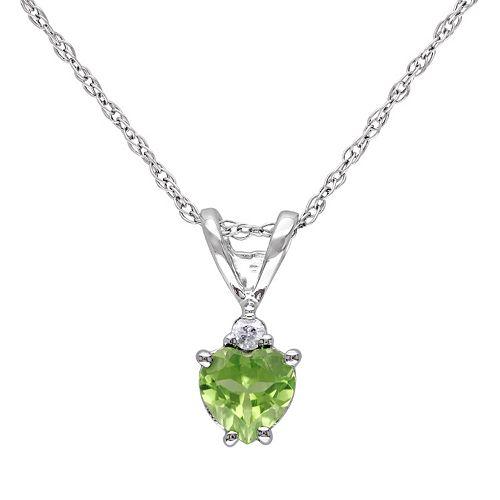 Stella Grace 10k White Gold Peridot & 1/5 Carat T.W. Diamond Heart Pendant Necklace