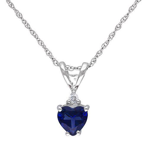 Stella Grace 10k White Gold Lab-Created Sapphire & 1/5 Carat T.W. Diamond Heart Pendant Necklace