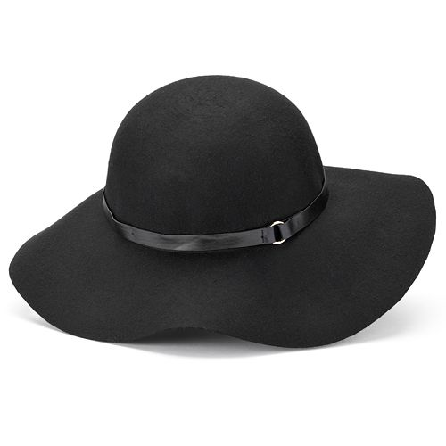 Women's Manhattan Accessories Co. Skinny Band Wool Floppy Hat