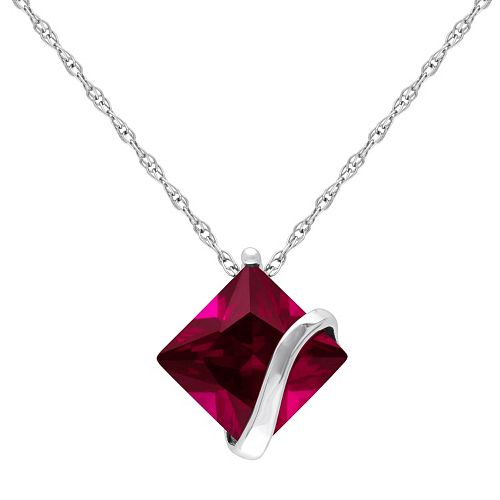 Stella Grace 10k White Gold Lab-Created Ruby Square Pendant Necklace