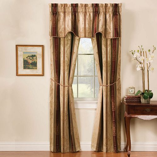 Window Accents Tuscan Stripe Rod Pocket 5-pc. Window Curtain Set