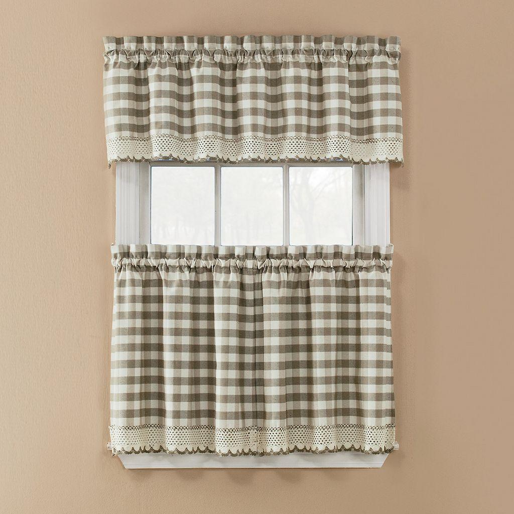Window Accents Norwalk Plaid Rod Pocket 3-pc. Tier Curtain Set