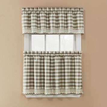 Window Accents Norwalk Plaid 3-piece Tier Kitchen Window Curtain Set