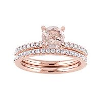 14k Rose Gold Morganite & 5/8 Carat T.W. Diamond Engagement Ring Set