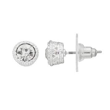 Chaps Simulated Crystal Textured Stud Earrings