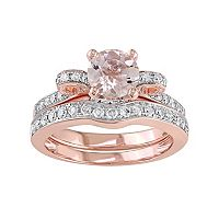 14k Rose Gold Morganite & 1/2 Carat T.W. Diamond Engagement Ring Set