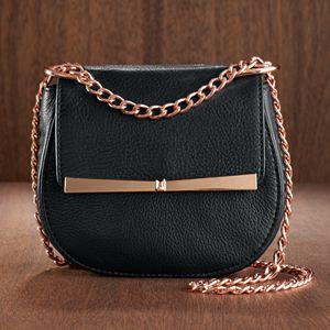 LC Lauren Conrad Runway Collection Leather Bow Mini Crossbody Bag