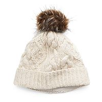 Women's SIJJL Faux-Fur Cable-Knit Beanie