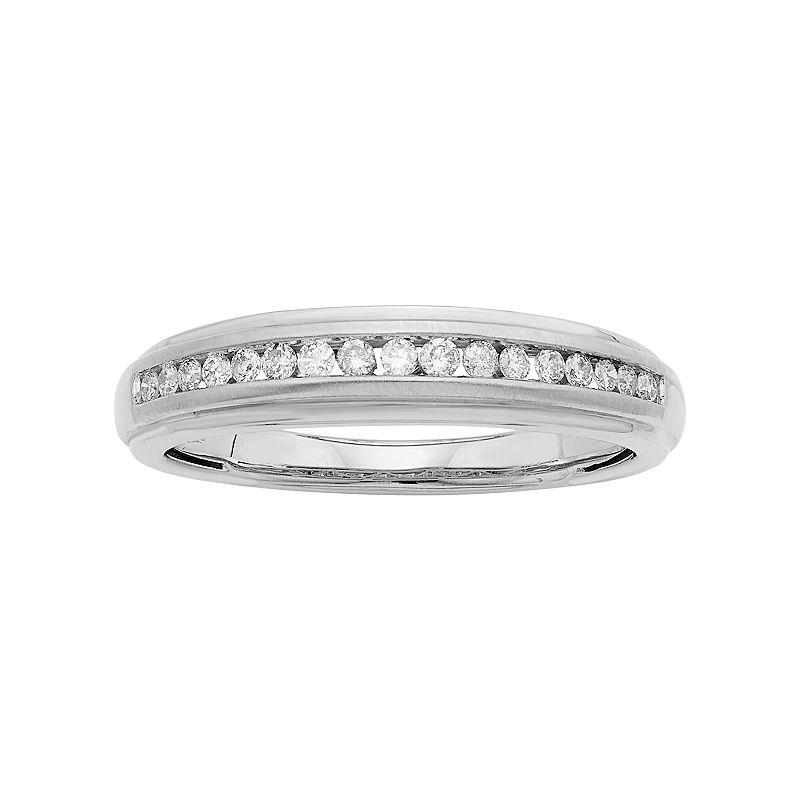 Men's 14k Gold IGL Certified 1/4 Carat T.W. Diamond Wedding Band, Size: 12.50, White