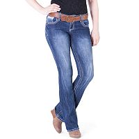 Juniors' Amethyst Belted Slim Bootcut Jeans