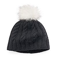 Women's SIJJL Cable-Knit Faux Fur Pom-Pom Wool Beanie