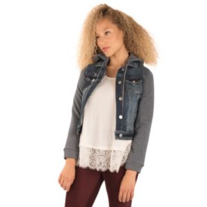 Juniors' Wallflower Plush Striped Denim Jean Jacket