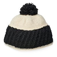 Women's SIJJL Colorblock Wool Pom-Pom Beanie