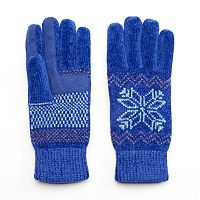 Women's Isotoner Snowflake Chenille Tech Gloves