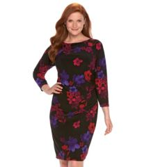 Plus Size Chaps Pleated Sheath Dress