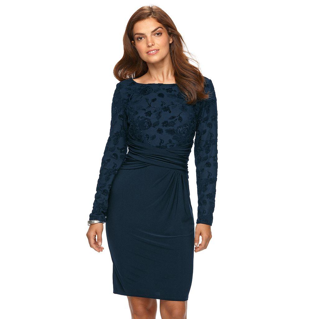 Women's Chaps Velvet Flocked Sheath Evening Dress