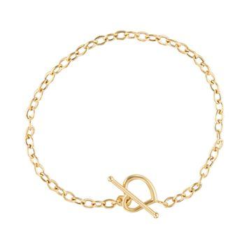 14k Gold Heart Toggle Bracelet