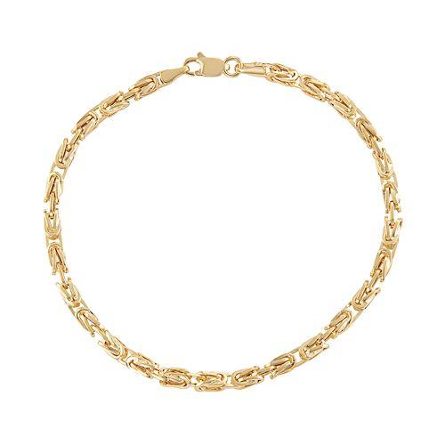 14k Gold Byzantine Chain Bracelet