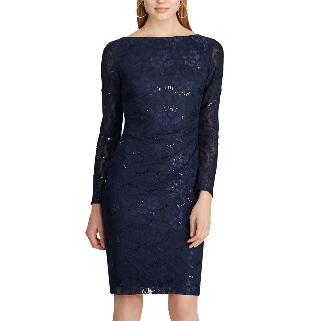 Women's Chaps Sequin Lace Sheath Dress