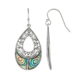 Sterling Silver Abalone Teardrop Earrings