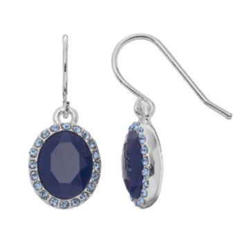 Chaps Blue Oval Halo Drop Earrings