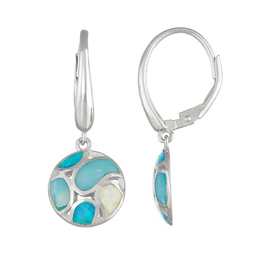 Sterling Silver Lab-Created Blue & White Opal & Lab-Created Larimar Circle Drop Earrings