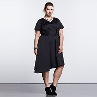 Plus Size Simply Vera Vera Wang Simply Noir Asymmetrical Fit & Flare Dress