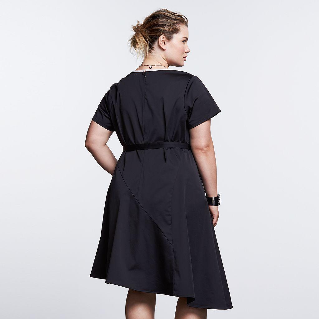 Plus Size Simply Vera Vera Wang Simply Noir Asymmetrical Fit & Flare Dress