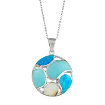 Sterling Silver Lab-Created Opal & Larimar Circle Pendant