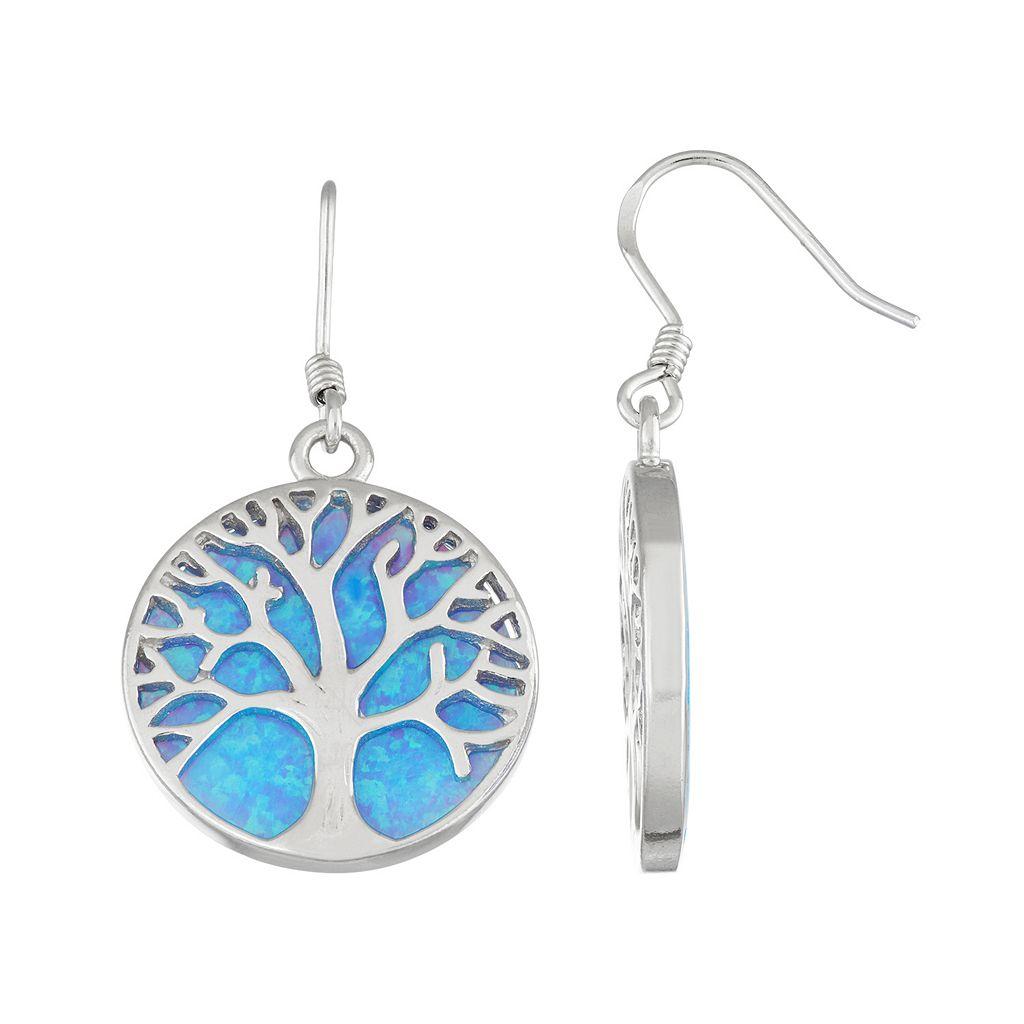 Sterling Silver Lab-Created Blue Opal Tree of Life Drop Earrings