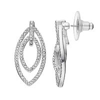 Chaps Simulated Crystal Double Marquise Drop Earrings