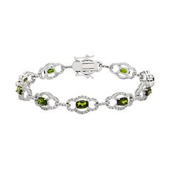 Sterling Silver Chrome Diopside & White Zircon Bracelet