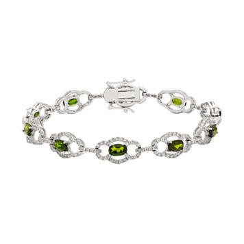 Sterling Silver Chrome Diopside & White Zircon Bracelet