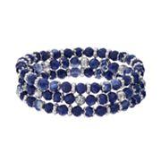 Chaps Blue Marbled Bead Stretch Bracelet Set