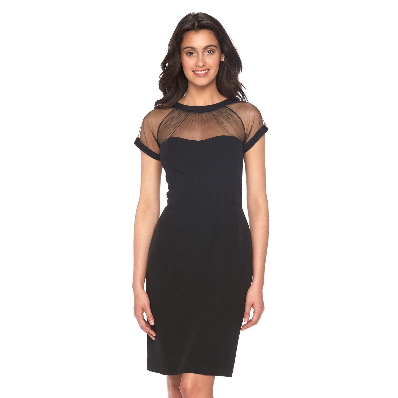 Womens Scarlett Mesh Yoke Sheath Dress