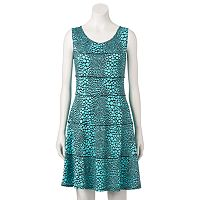 Women's Perceptions Seamed Dot Fit & Flare Dress