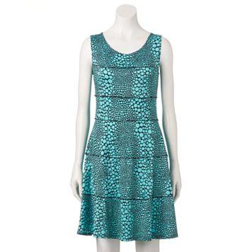 Women's Perceptions Seamed Dot Fit & Flare Dress