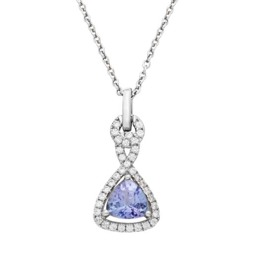 Sterling Silver Tanzanite & White Zircon Triangle Pendant