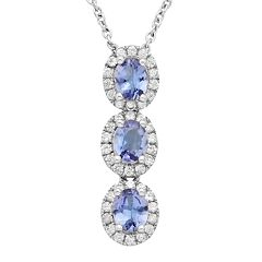 Sterling Silver Tanzanite & White Zircon Oval Halo 3-Stone Pendant