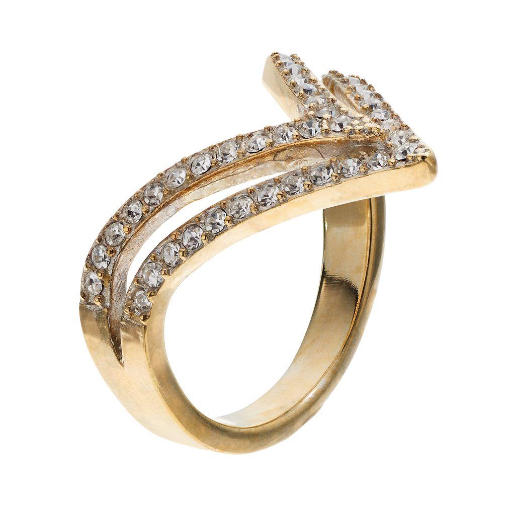Cubic Zirconia Chevron Ring