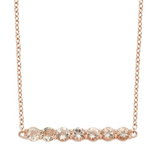 14k Rose Gold Over Silver Morganite Bar Necklace