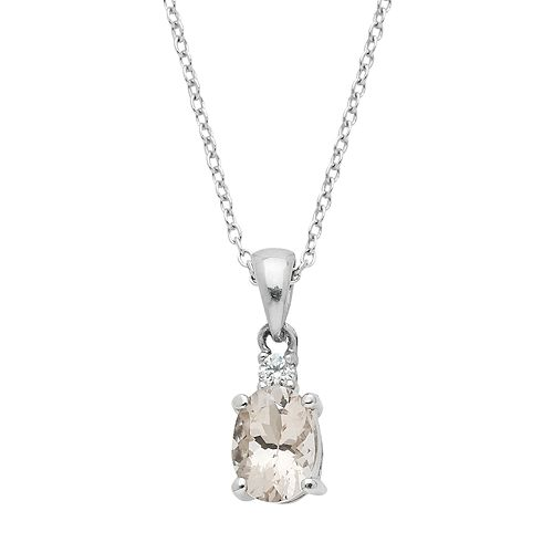 Sterling Silver Morganite & White Zircon Oval Pendant