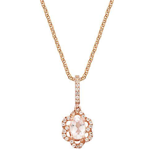 14k Rose Gold Over Silver Morganite & White Zircon Flower Pendant