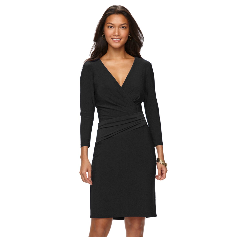 Womens Chaps Solid Surplice Sheath Dress
