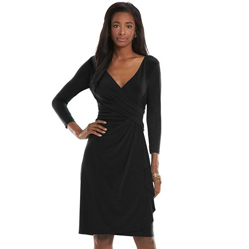 Women's Chaps Surplice Faux-Wrap Sheath Dress